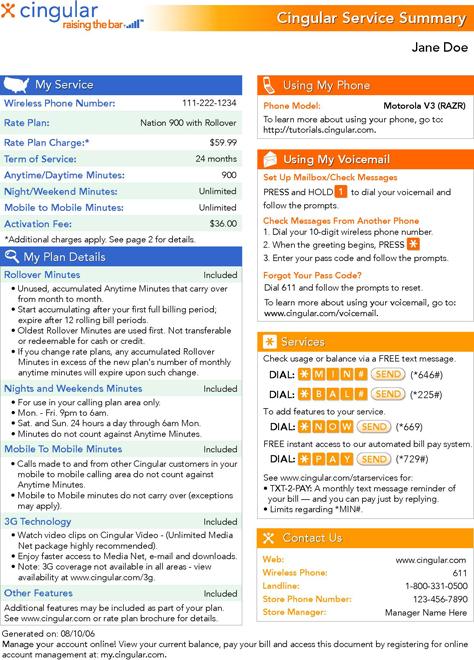 cingular bill summary