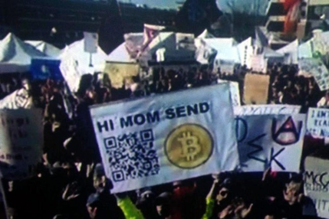 Fan's Bitcoin Address as a QR code on a sign at Saturday's ESPN Gameday
